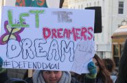 Teen marcher at Milwaukee Federal Building calling for DACA protections, alongside Voces de la Frontera. Photo by Isiah Holmes/Wisconsin Examiner.