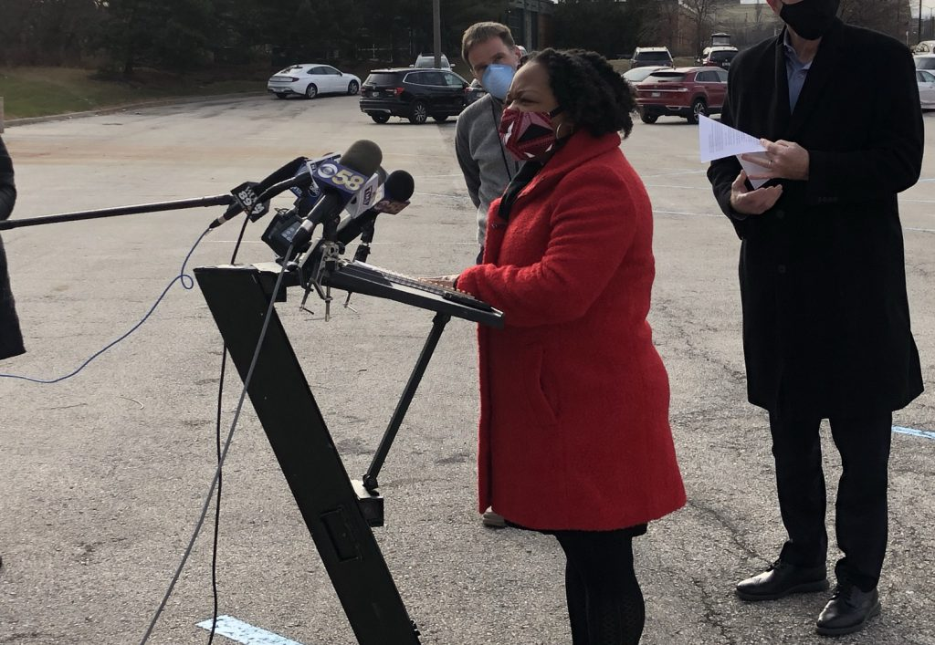 Interim Health Commissioner Marlaina Jackson addresses the media on December 22nd, 2020. File photo by Jeramey Jannene.