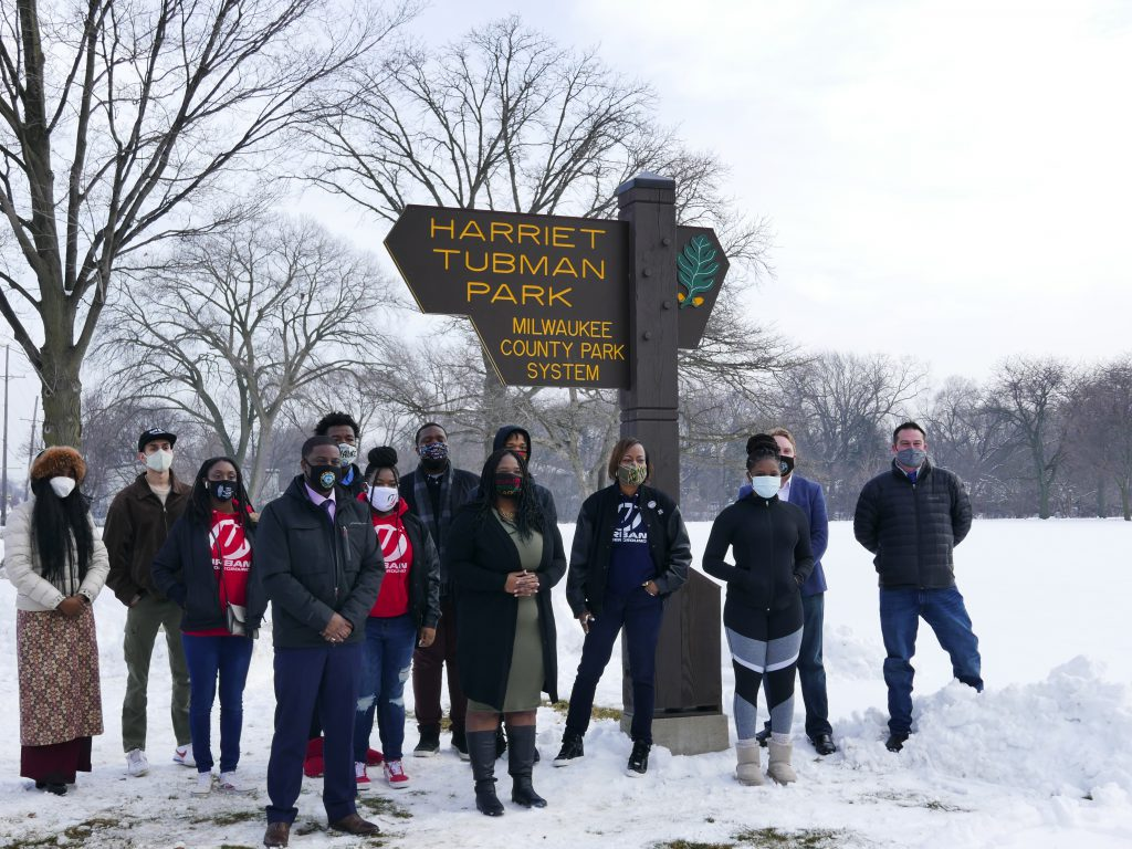 County Executive David Crowley, Supervisor Sequanna Taylor, Sharlen Moore and Urban Underground members at Harriet Tubman Park unveiling. Photo by Graham Kilmer.