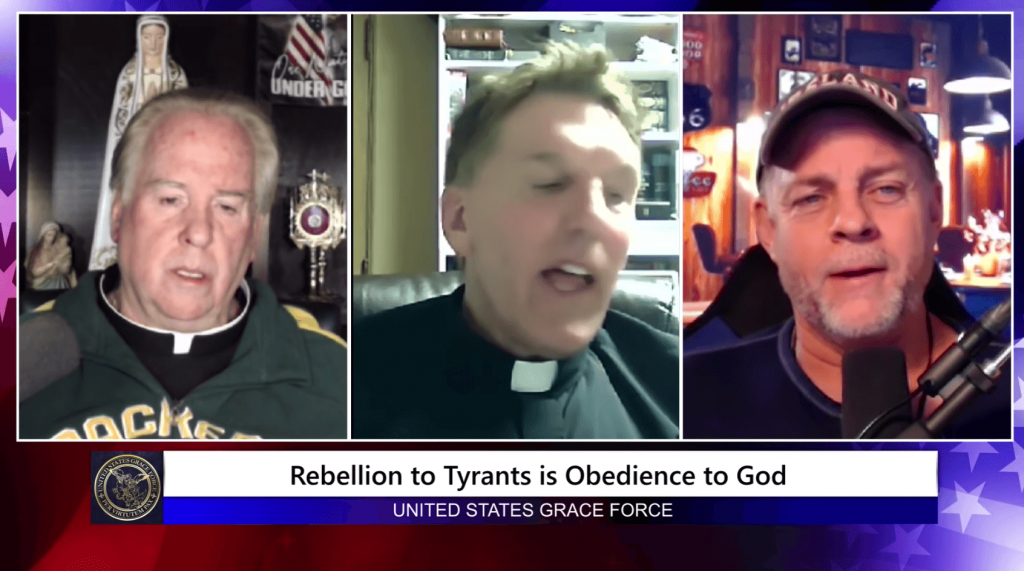 Fathers Richard Heilman and James Altman (left and center) appeared on a podcast saying antifa was behind the attack on the U.S. Capitol. (Screenshot | Youtube)
