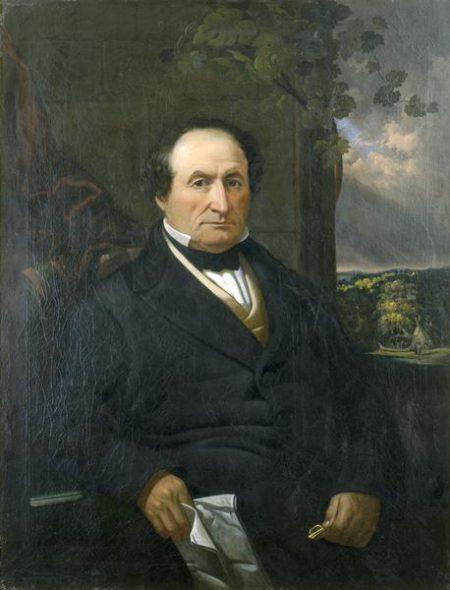 Painted portrait of Solomon Juneau (1793–1856) by Samuel Marsden Brookes (1816–1892). (Public Domain)