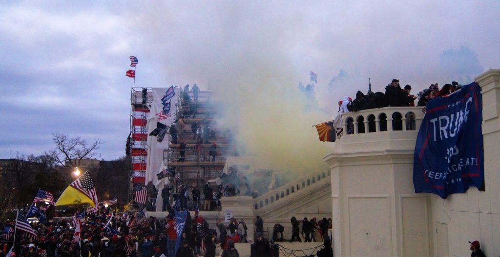 Tear gas outside the United States Capitol on 6 January 2021. Photo by Tyler Merbler from USA, CC BY 2.0 , via Wikimedia Commons