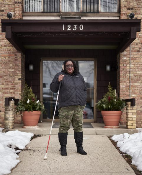 """Danita Jackson of Milwaukee, who lost her vision when she was 16, says she understands the difficulties blind individuals face while voting, and believes the community deserves the option to receive an accessible ballot that can be read to her using screen reader technology. """"Anytime we can exercise our independence we should do it,"""" she says. Photo taken Jan. 10, 2021. Darren Hauck for Wisconsin Watch"""