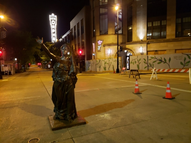 Forward statue stands on State Street after being removed from its pedestal during the early morning hours of Wednesday, June 24, 2020. Shawn Johnson/WPR