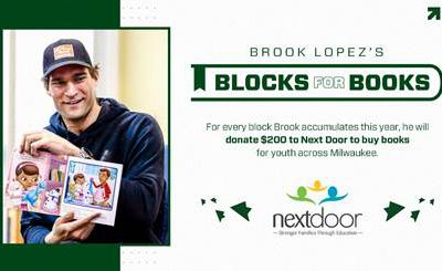 Brook Lopez Commits $25,000 to Next Door Through 'Blocks for Books' Program