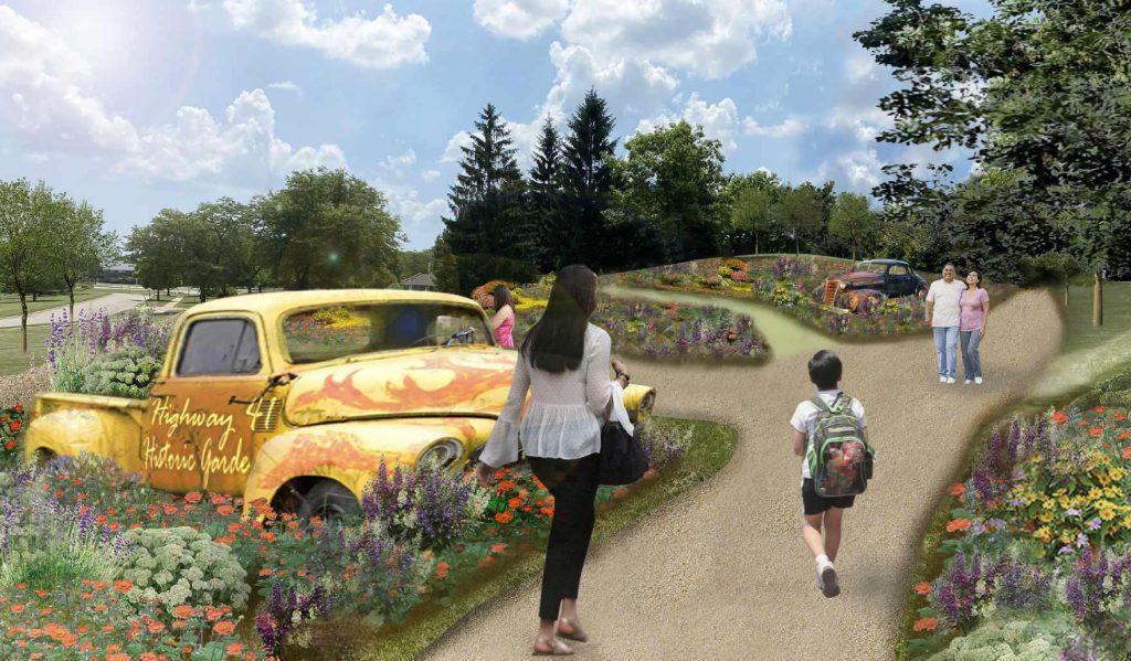 Classic Car Garden rendering.