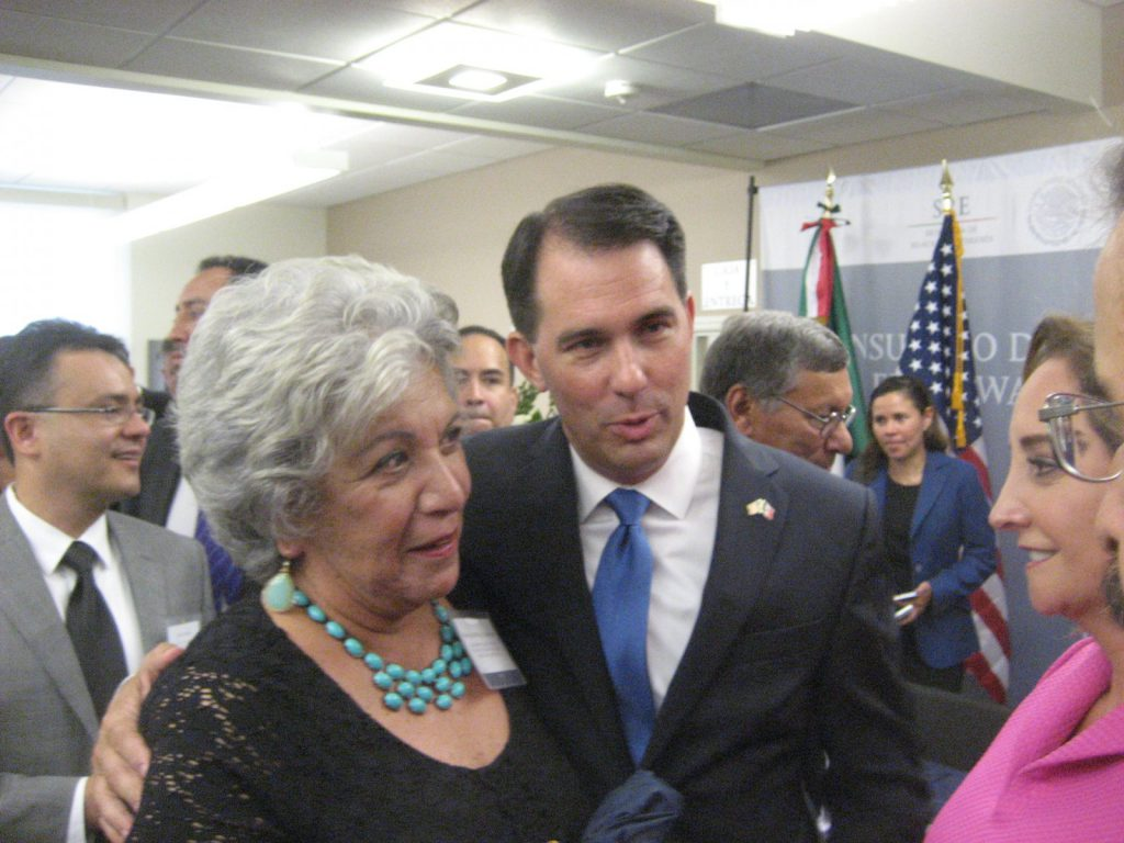 Maria Monreal-Cameron and Scott Walker at the August 2016 opening of the Mexico Consulate at 1443 N. Prospect Ave. File photo by Michael Horne.