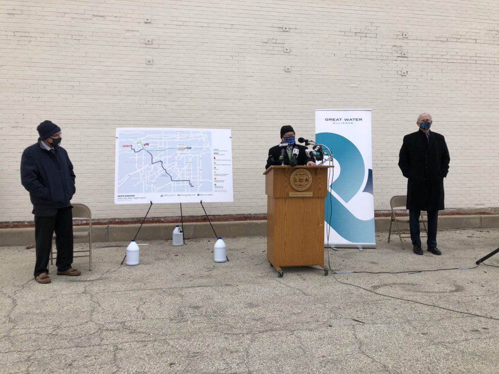 Waukesha Mayor Shawn Reilly speaking at Great Water Alliance groundbreaking on November 30th, 2020. File photo by Jeramey Jannene.