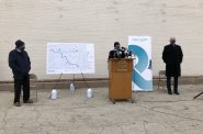 Waukesha Mayor Shawn Reilly speaking at Great Water Alliance groundbreaking on November 30th, 2020. File photo by Jeramey Jannene.