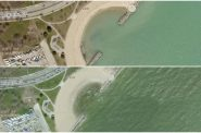 McKinley Beach, 2020 top. 2010 Bottom. Photos by Milwaukee County.