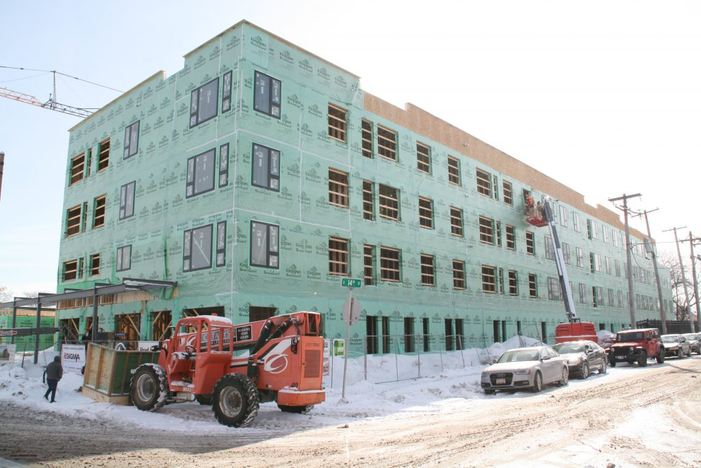 THIRTEEN13 Place construction. Photo by Jeramey Jannene.