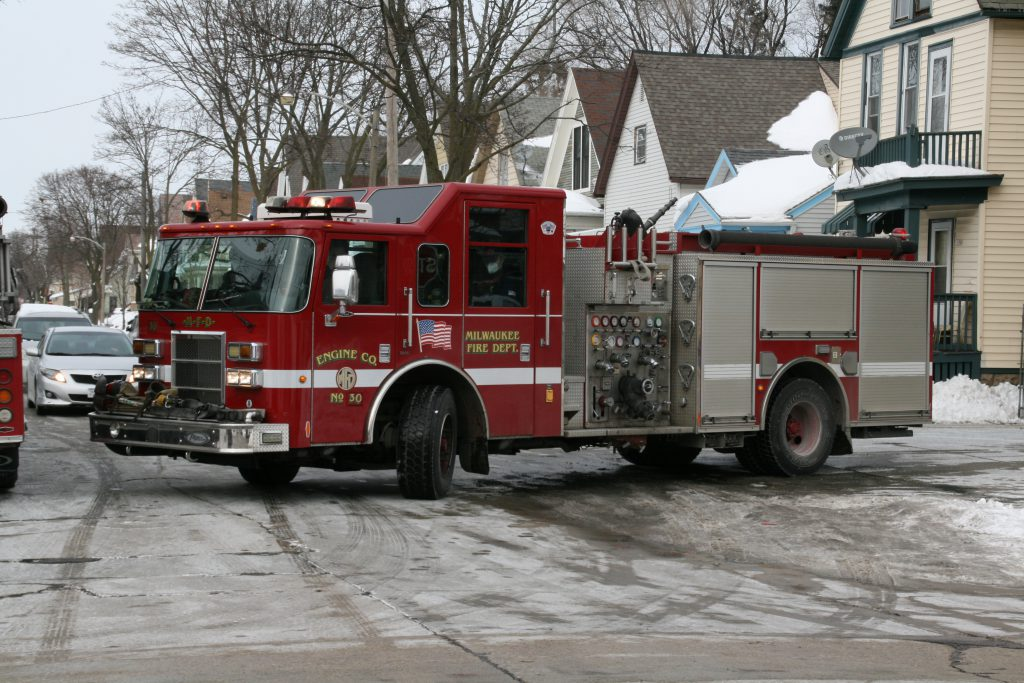 Milwaukee Fire Department engine pulls out of Station 26. Photo by Jeramey Jannene.