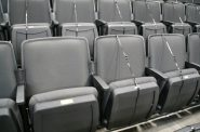 Zip-tied seats at Fiserv Forum will prevent fans from breaking distancing restrictions. Photo by Jeramey Jannene.