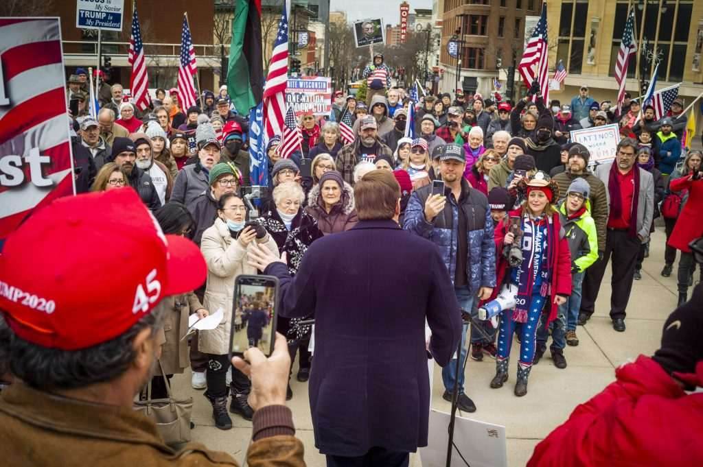 Pro-Trump rally with MyPillow CEO Mike Lindell on the steps of the Wisconsin State Capitol Dec. 7, 2020. Photo by Luther Wu/Wisconsin Examiner.