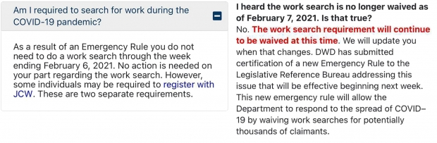 Screenshots from the state Department of Workforce Development's website. Left: A message that appeared on DWD's Work Search FAQ page as recently as Monday. Right: DWD's Work Search FAQ page as of Tuesday.