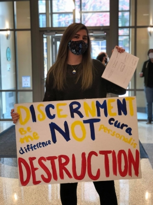 In October, then-student Brooke McArdle organized a student sit-in to protest staff cuts at Marquette University. Photo courtesy of Brooke McArdle