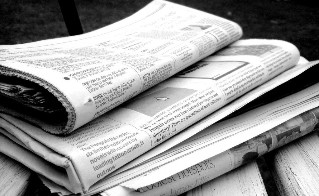 Newspapers. Photo by flickr user Jon S. (CC BY 2.0) https://creativecommons.org/licenses/by/2.0/ https://www.flickr.com/photos/62693815@N03/6277209256