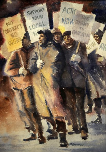 AFT Local 212 strike painting by Sam Gansheroff. Image courtesy of Charlie Dee and Michael Rosen.