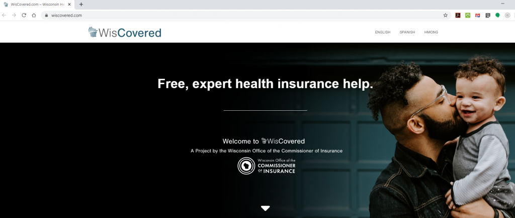 The home page of the state's new WisCovered.com website, hosted by the Office of the Commissioner of Insurance (OCI). (Internet screenshot)