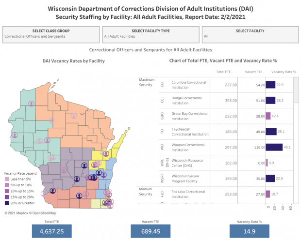 Screenshot taken Wednesday, Feb. 10, 2021, of data from the Wisconsin Department of Corrections.