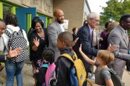 Back to School welcome 2019 with Carolyn Stanford Taylor, Mandela Barnes and Tony Evers. File photo from the of Office of Gov. Evers.