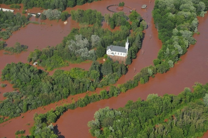 Flood waters surround the Bad River reservation in 2016 after a storm dumped as much as 10 inches of rain in a single night. Courtesy of the Bureau of Indian Affairs