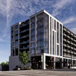 Rendering of proposed apartment building for site located at 1237 N. Van Buren St. Rendering by Korb + Associates Architects.