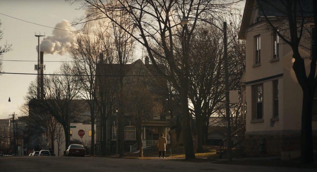 """""""Vince Lombardi"""" walks along W. Walker St. Screenshot from NFL Communications video."""