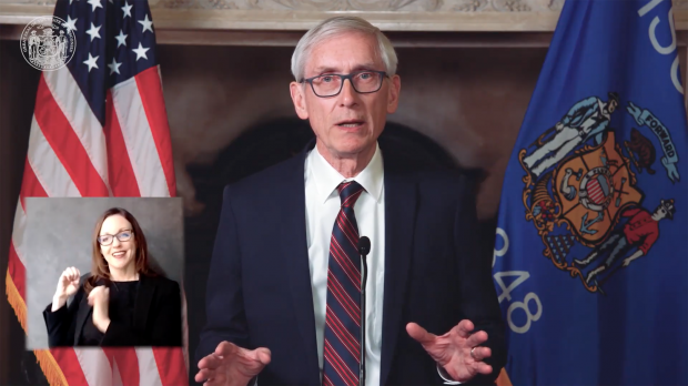 Democratic Gov. Tony Evers delivers his 2021 budget address. Screenshot from YouTube