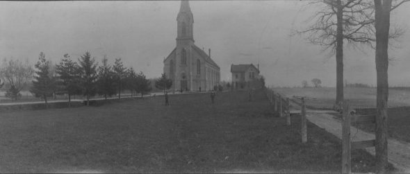 St. Stephen's Church in 1912, after the rebuilding following the 1908 fire. A later version of the church still stands in Milwaukee's southern suburb of Oak Creek. Milwaukee Archdiocese.