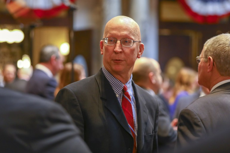 Sen. Duey Stroebel, R-Saukville, is seen at the State of the State address at the Capitol in Madison, Wisconsin on Jan. 24, 2018. Stroebel has sponsored several bills to add restrictions on absentee voting, which he says are aimed at boosting voter confidence in elections. (Coburn Dukehart/Wisconsin Watch)