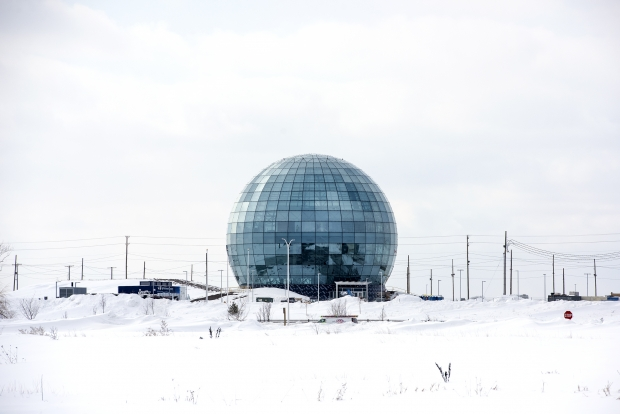 Snow surrounds the glass globe at the Mount Pleasant Foxconn campus on Thursday, Feb. 18, 2021. Angela Major/WPR