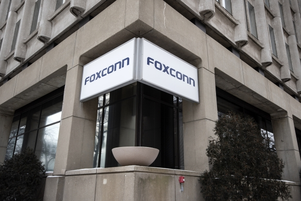 A sign is displayed outside of a building in downtown Milwaukee that Foxconn said would be the company's North American headquarters. Angela Major/WPR