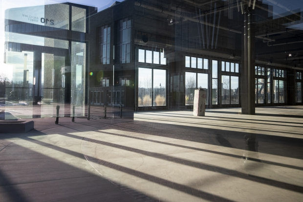 Light shines in to a vacant space on the first floor of Haymarket Landing on Friday, Feb. 26, 2021, in Eau Claire, Wis. Angela Major/WPR
