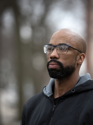 Dominee Meek was sentenced as an adult to life in prison at the age of 15. He is now a team leader for the Wisconsin Alliance for Youth Justice. Angela Major/WPR