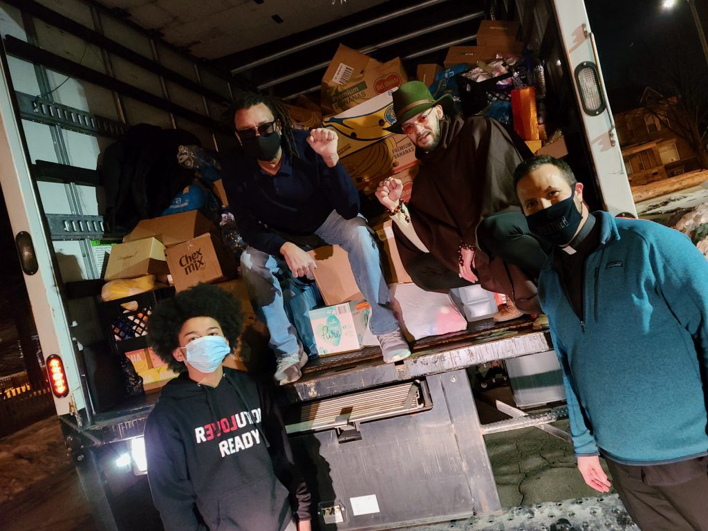 #MKE2TX picks up donations in Kenosha at an event organized by Jacob Blake's family. Brandon WIlbourn (from left), Justin Blake, Jabril Faraj and Pastor Jonathan Barker are pictured. Photo provided by Homer Blow.