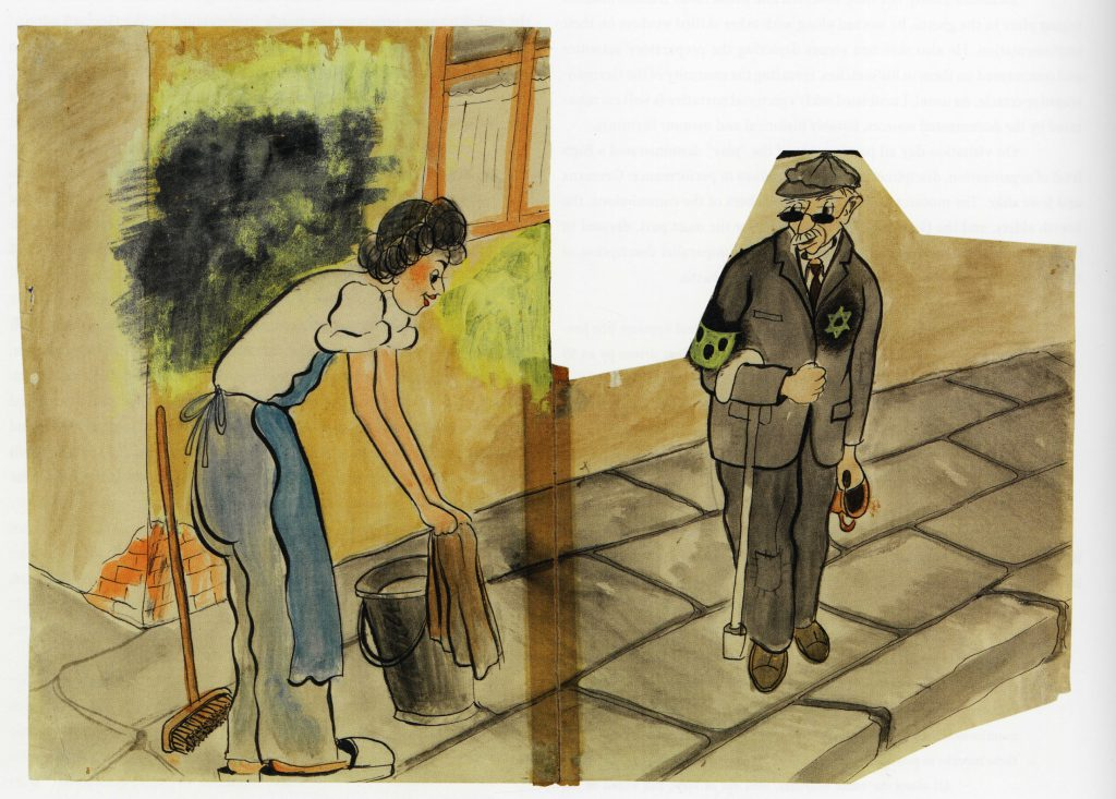 All Sidewalks Will Be Scrubbed. Ghetto period, Terezin, 1943. By Erich Lichtblau Leskly. This is exhibit is on loan from Holocaust Museum LA.