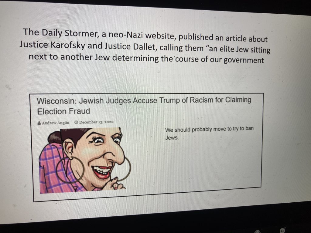 Antisemitic comments directed at Jewish members of the Wisconsin Supreme Court. Screenshot from March 3 presentation.