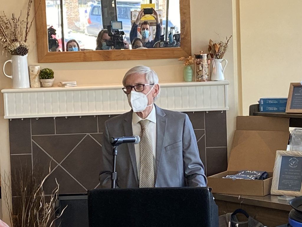 Gov. Evers speaking at Miss Molly's Cafe & Pastry Shop on March 29th, 2021. Photo by Graham Kilmer.