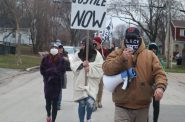 Protesters hold a march for Jay Anderson Jr., on the 300th day of protest in the Milwaukee area. Photo by Isiah Holmes/Wisconsin Examiner.