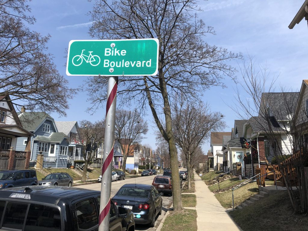 Bike Boulevard sign in Riverwest. Photo taken March 30th, 2021 by Dave Reid.