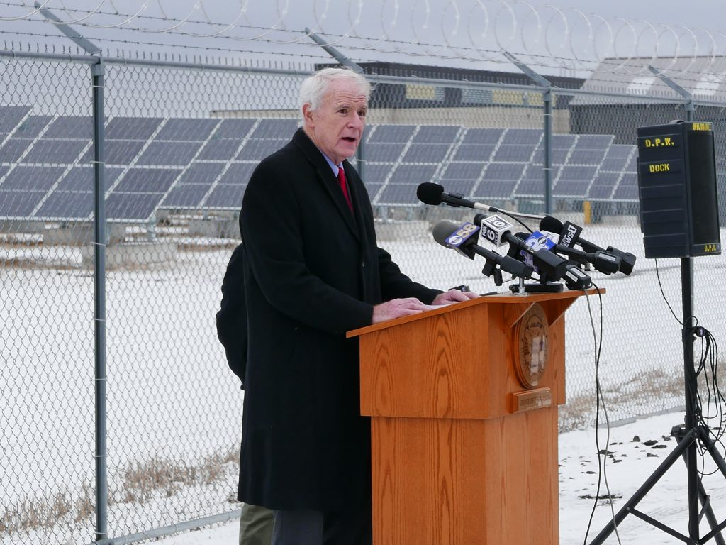 Mayor Tom Barrett speaks at the opening of a new solar installation at 1600 E. College Ave. Photo by Graham Kilmer.