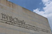 """We the People"" inscription on the Front of the National Constitution Center. Photo by Housefinch1787, CC BY-SA 4.0 , via Wikimedia Commons"