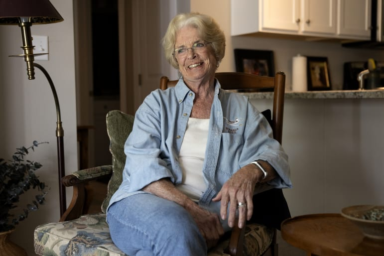 Beverly Blietz, 85, is seen in her apartment at the Glen Estates complex in Sister Bay, Wisconsin, on August 6, 2020. Blietz is a former resident of the Good Samaritan Society – Scandia Village in Sister Bay, but moved out in June 2020 due to the restrictions placed on residents due to the pandemic. A former recreational pilot, Uber driver, art gallery docent and community volunteer, Blietz loved to drive around Door County visiting with friends and family, but found herself involuntarily locked down when the pandemic hit. Her 680-square-foot apartment, instead of offering independent living, began to feel more like a cage, so she found a new place to live where she could be on her own terms. Coburn Dukehart / Wisconsin Watch