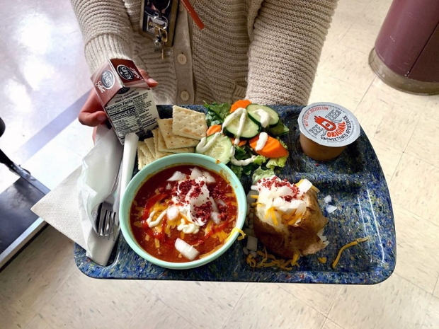 A Wisconsin Chili Lunch prepared at the Drummond Area School District in northwestern Wisconsin. Photo Courtesy of University of Wisconsin-Madison's Center for Integrated Agricultural Systems (CIAS).