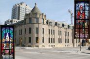 Humphrey Scottish Rite Masonic Center. Building photo by Jeramey Jannene, window photos by Ramlow/Stein