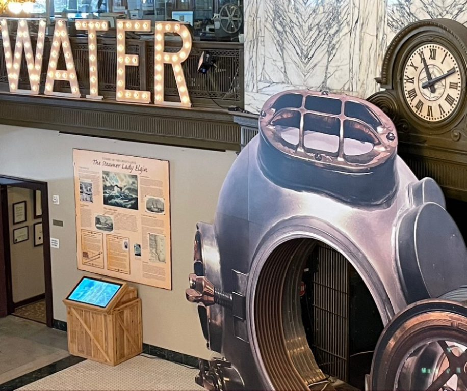 Milwaukee County Historical Society bank vault redecorated for Where the Waters Meet exhibit. Image from MCHS.