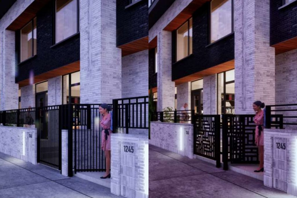 The original Nova townhome design (left), with the revised design (right). Renderings by Korb + Associates Architects.