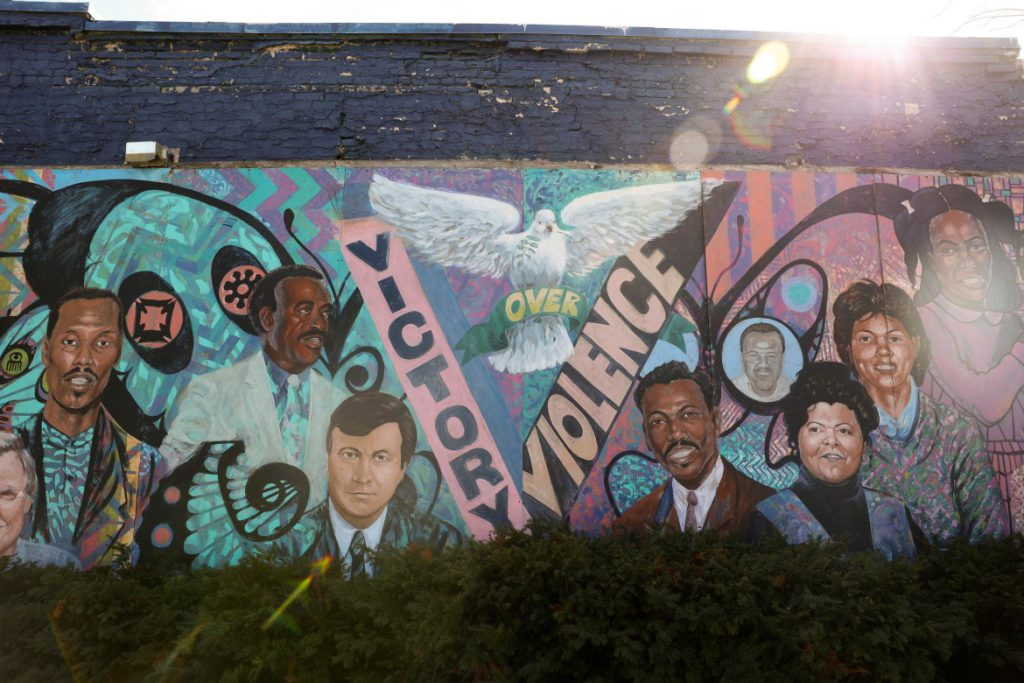 A mural hangs in Victory Over Violence Park on North Martin Luther King Jr. Drive in Milwaukee near where Jared Cain filmed protests and vandalism just past midnight on June 1, 2020. The Milwaukee Police Department later referenced the footage in mailing him a $691 curfew citation, which was later dismissed. Photo taken March 11, 2021. Credit: Coburn Dukehart / Wisconsin Watch