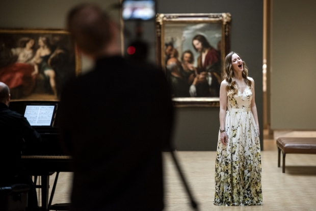 "Soprano Jeni Houser films an ""Opera Postcard from Madison"" on Monday, March 22, 2021, inside the Chazen Museum of Art in Madison, Wis. Angela Major/WPR"
